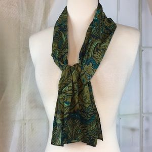 Song of Silk Green Paisley Scarf